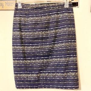 Lilly Pulitzer Blue, Gold, and White Pencil Skirt
